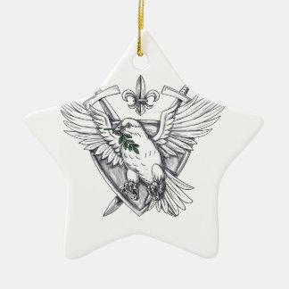 Tauben-olivgrüne Blatt-Klinge-Wappen-Tätowierung Keramik Ornament