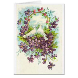 Tauben und Blumen Karte