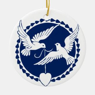 Tauben-Weihnachtsbaum-Dekoration Keramik Ornament