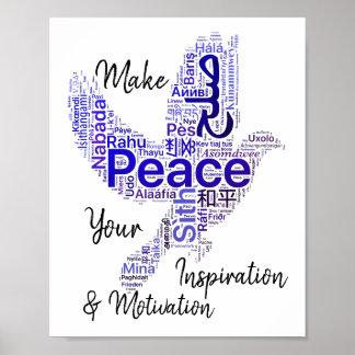 Tauben-Wort-Kunst-inspirierend Zitat-Frieden Poster