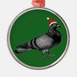 Taubenweihnachten Rundes Silberfarbenes Ornament