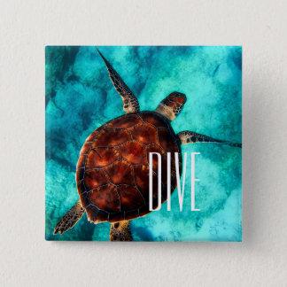 Tauchen-Meeresschildkröte Quadratischer Button 5,1 Cm