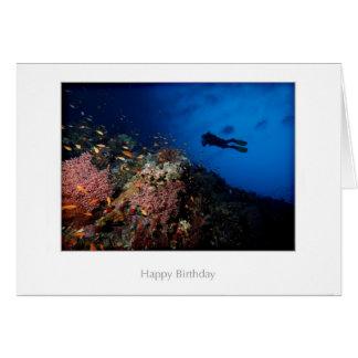 Taucher auf einer Riff-Geburtstags-Karte Grußkarte