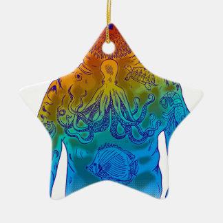 Taucher Keramik Stern-Ornament