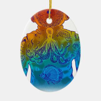 Taucher Ovales Keramik Ornament