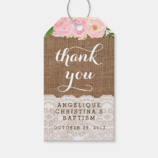 Taufe-Bevorzugung etikettiert für Mädchen mit rosa Geschenkanhänger