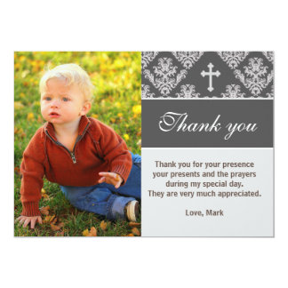 Taufe danken Ihnen, Taufgraue Foto-Karte zu merken 12,7 X 17,8 Cm Einladungskarte