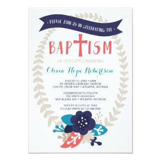 Taufe-Einladung, Blumen-, zeitgenössische Taufe Karte