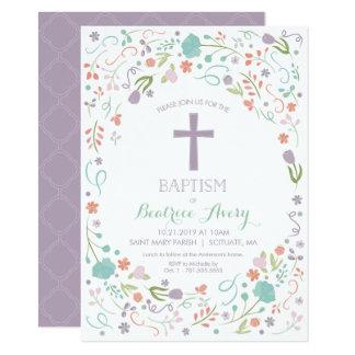 Taufe, Taufe laden - Blumen, Kreuz ein 11,4 X 15,9 Cm Einladungskarte
