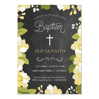 Taufe, Taufeinladung - Mädchen, Blumen 12,7 X 17,8 Cm Einladungskarte