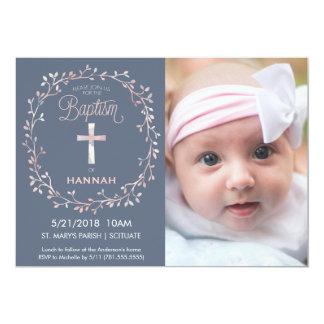 Taufe, TaufFoto-Einladung - Baby-Mädchen 12,7 X 17,8 Cm Einladungskarte