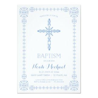 Taufe, Taufjungen-Einladungs-elegantes Kreuz 12,7 X 17,8 Cm Einladungskarte
