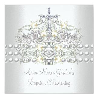 Taufe-Tiara-Silber-weißer Perlen-Diamant Karte