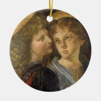 Taufe von Christus-Engeln durch Leonardo da Vinci Rundes Keramik Ornament