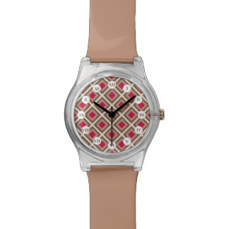 Taupe, heller Taupe, Pink Ikat Diamanten STaylor Armbanduhr