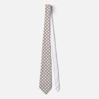 Taupe-und Weiß-Polka-Punkt-Muster-Hals-Krawatte Personalisierte Krawatte