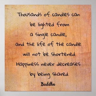 Tausenden der Kerze --- Buddha-Zitat _art Druck Poster