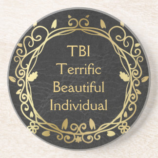 TBI schreckliches schönes einzelnes Gold auf Sandstein Untersetzer
