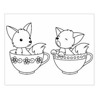 Teacup-Füchse - Baby-Tiere in einer Gummistempel