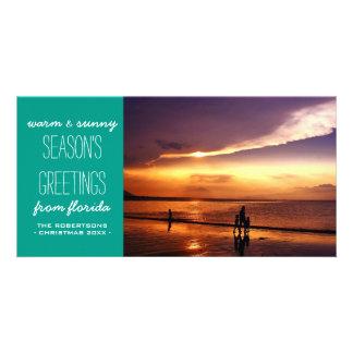 Teal lumineux et des salutations plus lumineuses modèle pour photocarte