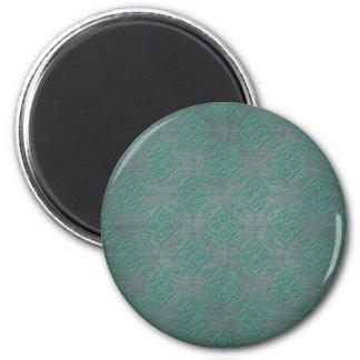 Teal rustique au-dessus de damassé de gris en acie magnet rond 8 cm