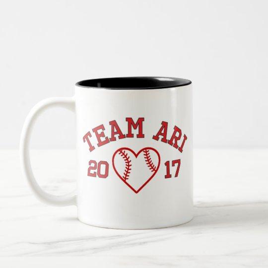 Team Ari Baseball-Herz-Tasse Zweifarbige Tasse