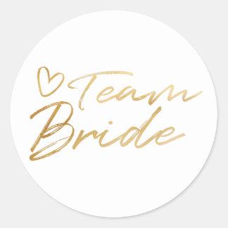 Team-Braut - GoldImitat-Folienaufkleber Runder Aufkleber