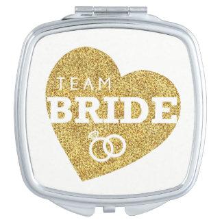 Team-Braut-Herz-GoldGlitter-Brautjungfern-Dusche Taschenspiegel
