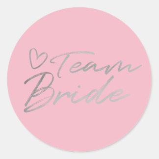 Team-Braut - silberner Imitatfolienaufkleber Runder Aufkleber