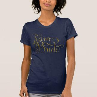 Team-Braut Swashy weibliches Beschriftungs-Gold T-Shirt
