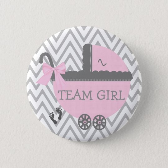 Team-Mädchen-graue Zickzack rosa Wagen-Baby-Dusche Runder Button 5,7 Cm