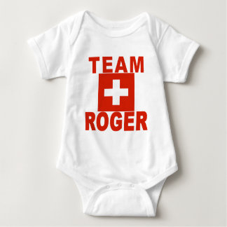 Team Roger mit Schweizer Flagge Babybody