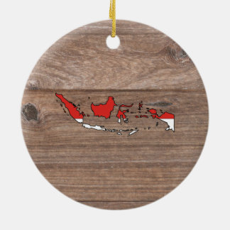 Teamindonesien-Flaggen-Karte auf Holz Keramik Ornament
