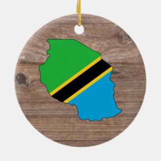 Teamtanzania-Flaggen-Karte auf Holz Keramik Ornament