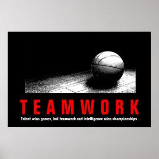 Teamwork-Basketball-inspirierend Zitat-Spieler Poster