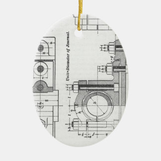 Technik-Plan-Maschinerie Vintag Keramik Ornament