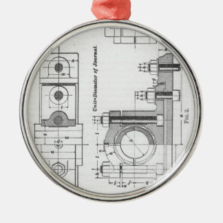 Technik-Plan-Maschinerie Vintag Silbernes Ornament