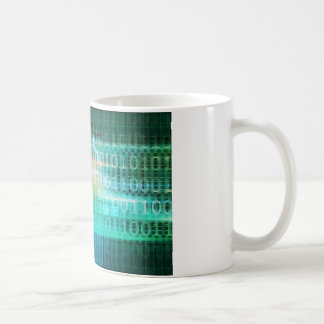 Technologie-Konzept mit on-line-Medium-abstrakter Kaffeetasse