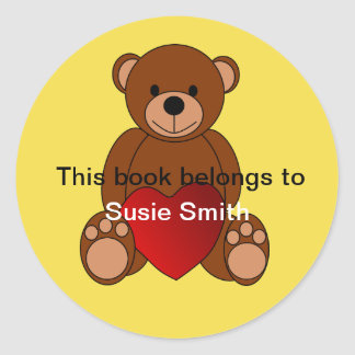 """Teddy-Bär """"dieses Buch gehört"""" Buchzeichen Runder Aufkleber"""