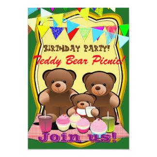 Teddy-Bärn-Picknick-Geburtstags-Party 12,7 X 17,8 Cm Einladungskarte