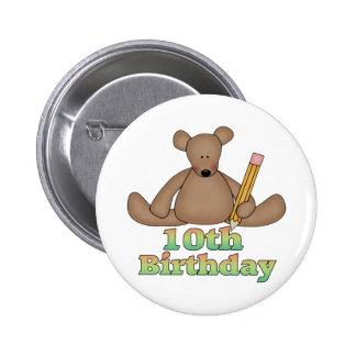 Teddybär-10. Geburtstags-Geschenke Runder Button 5,7 Cm