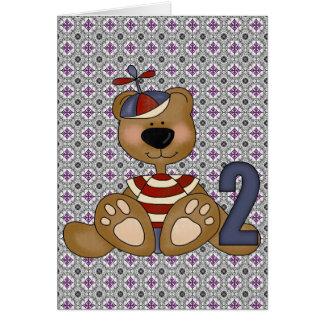 Teddybär-2. Geburtstag Grußkarte