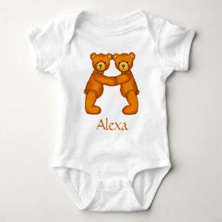Teddybär-Alphabet Letter~Initial A~Custom Name Baby Strampler
