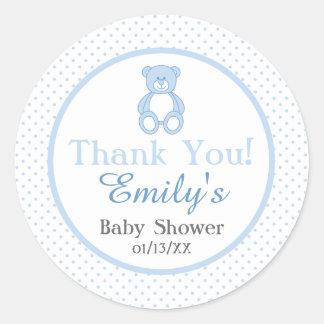 Teddybär-Babyparty-Aufkleber - Junge Runder Aufkleber