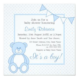 Teddybär-Babyparty-Einladungen - Junge Quadratische 13,3 Cm Einladungskarte