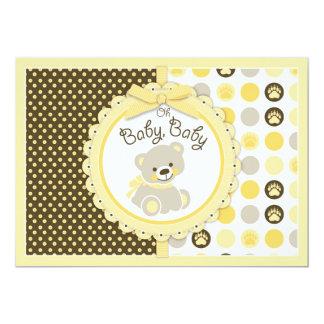 Teddybär-Babyparty-Gelb 12,7 X 17,8 Cm Einladungskarte