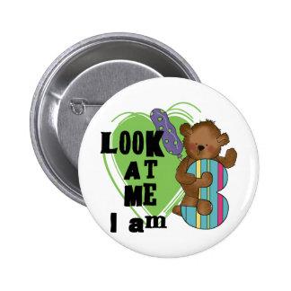 Teddybär bin ich 3 Geburtstags-T-Shirts und Gesche Runder Button 5,1 Cm