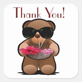 Teddybär danken Ihnen zu beschriften Quadratischer Aufkleber