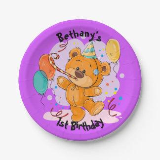 Teddybär-Geburtstag Pappteller