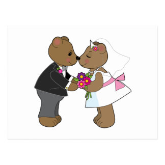 Teddybär-Hochzeit Postkarte